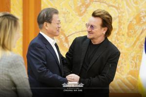 문재인 대통령 U2 보노 접견